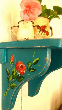 Country Style, Shabby Chic Blue Painted Shelf with Red Flowers Design .....