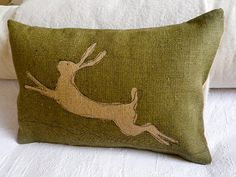 #hare #cushion #pillow #olive #green