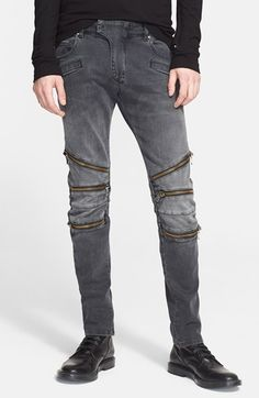 Pierre Balmain Zip Detail Moto Jeans (Black Wash) available at #Nordstrom