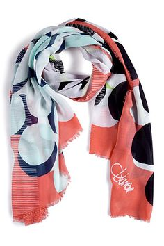 Colorful wrap: Hot Coral Shadow Dot Large Campbell Scarf by DIANE VON FURSTENBERG #luxetravel