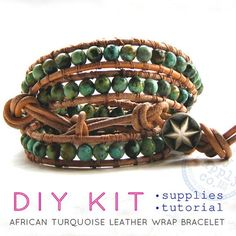 wrap bracelet african turquoise leather cord: DIY KIT supplies & tutorial - make your own on Etsy, $55.00