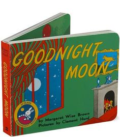 """Goodnight Moon is written by by Margaret Wise Brown and illustrated by Clement Hurd. This book tells the story of a child at bed time saying goodnight to everything. """"Goodnight room. Goodnight moon. Goodnight cow jumping over the moon."""" This story is a calming bedtime story for all children."""