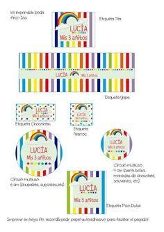 Kit Imprimible Arco Iris Multicolor - $ 45,00 en MercadoLibre