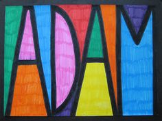 Stained Glass Names: this is a simple project and a great introduction to the c Kunstunterricht kunstunterricht grundschule mondrian Mondrian, School Art Projects, Projects For Kids, Art School, Project Projects, Name Art Projects, Back To School Art, Art Education Projects, School Week