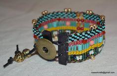 Hand loomed beaded bracelet with multi-colored seed beads Southwest Sundance Bohemian Western loom roseartcrafts boho folk bw_145