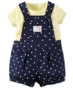 Carter's Baby Girls' 2-Piece T-Shirt & Navy Dot Shortall Set