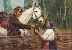 Kossak Jerzy - Ułan i dziewczyna przy płocie