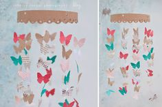 kiki creates: Spring Butterfly Mobile {All About Easter} Fun Crafts, Diy And Crafts, Arts And Crafts, Paper Crafts, Mobiles, Butterfly Mobile, Butterfly Party, Diy Papillon, Bunting
