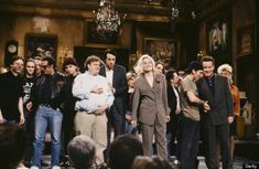 "Eddie Vedder and all Pearl Jam , Sharon Stone and the ""SNL"" cast, April 11, 1992"