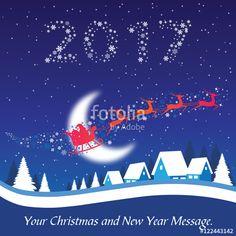Vektör: 2017 Christmas and New Year Greeting Card