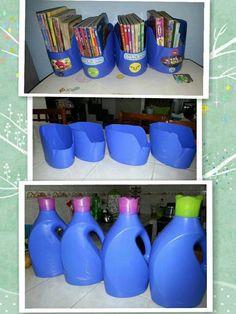 Empty plastic bottles for storing CD, booklets, etc. Empty plastic bottles for storing CD, booklets, etc. Plastic Bottle Crafts, Plastic Recycling, Recycle Plastic Bottles, Plastic Jugs, Plastic Milk Crates, Recycled Bottles, Diy Magazine Holder, Craft Storage, Cord Storage