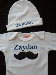 Mustache Baby Boy Clothes Monogrammed Baby Clothes by LilMamas, $26.00