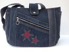 """Umhängetaschen - Jeanstasche """"Stars"""" - ein Unikat von Bea-Trix-Sho ...   - Taschen - #BeaTrixSho #Ein #Jeanstasche #quotStarsquot #taschen #Umhängetaschen #Unikat #von Denim Handbags, Denim Tote Bags, Denim Purse, Purses And Handbags, Patchwork Bags, Quilted Bag, Ipad Bag, Jean Purses, Bag Pattern Free"""