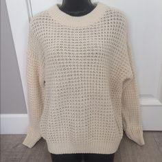 New MNG basics chunky cream sweater New Mango chunky cream sweater size L Mango Jackets & Coats
