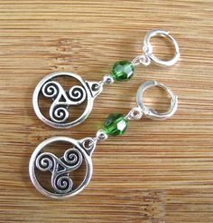 Silver Triskele Dangly Lever Back St. Patrick's Day Earring with Green Austrian Crystal - pinned by pin4etsy.com