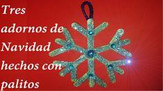 TRES ADORNOS NAVIDEÑOS CON PALITOS DE HELADO. THREE CHRISTMAS ORNAMENTS ...