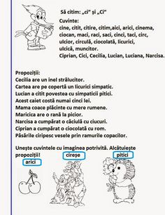 "Lumea lui Scolarel...: Grupul de litere ""ci"" și ""Ci"" Worksheets For Kids, Activities For Kids, Romanian Language, School Lessons, After School, Kids Learning, Preschool, Parenting, Teacher"