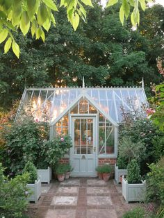 The Tatton greenhouse by Alitex, glowing win the autumnal sunlight Indoor Outdoor, Outdoor Greenhouse, Backyard Greenhouse, Small Greenhouse, Greenhouse Plans, Outdoor Gardens, Greenhouse Wedding, Outdoor Ideas, Portable Greenhouse