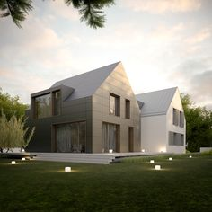 DOM NA PIONIERSKIEJ - ROZBUDOWA on Behance Scandinavian Architecture, Minimalist Architecture, Architecture Design, Great Buildings And Structures, Modern Buildings, Roof Design, Exterior Design, Compound House, House Cladding