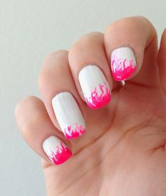 Pink flame nails for the summer. Maybe in blue/silver/gold?
