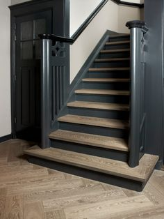 interior oak flooring stairs made by herringbone Nice color in color style of th . - interior oak flooring stairs made by herringbone Nice color in color style of th … interior oak flooring stairs made by herringbone Nice color in color style of th … Modern Basement, Basement Stairs, House Stairs, Black Stairs, Black Painted Stairs, Painted Staircases, Color Style, Wood Floor Kitchen, Dark Wood Stain