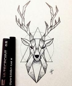 Bild von Hirsch und Zeichnung Imagen de deer and drawing - Monde Des Animaux Doodle Art Drawing, Cool Art Drawings, Pencil Art Drawings, Art Drawings Sketches, Animal Drawings, Deer Drawing, Drawing Ideas, Black Pen Drawing, Badass Drawings