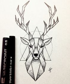 Bild von Hirsch und Zeichnung Imagen de deer and drawing - Monde Des Animaux Deer Drawing, Doodle Art Drawing, Cool Art Drawings, Pencil Art Drawings, Art Drawings Sketches, Ink Illustrations, Sketch Art, Animal Drawings, Drawing Ideas
