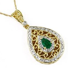 2/3 ct Ladies Emerald & Diamond Necklace in 14k Yellow Gold