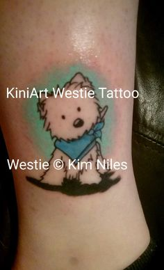 Finally got my Westie tattoo at the weekend. A great thank you to Mark from Painting With Needles for this, and an extra special thank you to Kim Niles / KiniArt for allowing me to use two images together for this and also letting me actually use the images for my tattoo. I love it so much!! Looks so much like my Alfie! <3