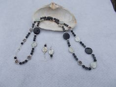 Long black and white mother of pearl necklace and earrings-Sold