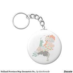Holland Province Map Geometric Patchwork Style Keychain by @DutchInside on @Zazzle