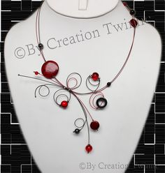 red black gray necklaceillusion necklaceunique by creationtwinne, $36.50