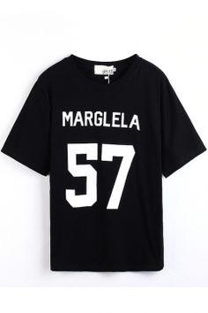 Black Short Sleeve Marglela 57 Print T-Shirt