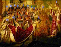Fragmento de la pintura de Luis David-Coronación de Napoleon ,donde aparecen 1El Emperador  2 Josefina 3Cardenal Charles Francois Caselli  4 Conde Esteve Tesorero General de la Corona 5 General  Louis Auguste Juvenal des Ursins Conde de Harville -6 Mariscal Joachim Murat - 7 Mariscal  Jean Mathiau Fhilibert Serurier -8 Mariscal Bon- Adrien Jannot de Moncey - 9 Mariscal Jean Baptiste Bassieres -10 Mariscal Jean de Dieu Soult - 11 Louis Phillipe de Segur - 12  Emilie de Beauhnais -13 Mme. De…