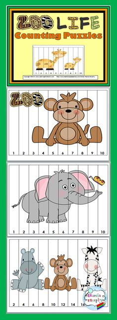 Math Number Puzzles for Kids Zoo Counting PuzzlesZoo Counting Puzzles Preschool Zoo Theme, Preschool Learning Activities, Animal Activities, Preschool Printables, Preschool Classroom, Kindergarten, Classroom Themes, Counting Puzzles, Number Puzzles