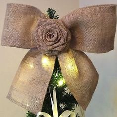 Rustic Christmas Tree Topper Fireplace Decoration Burlap Rose Bow 16x15"