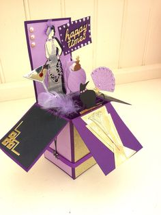 Handmade Art Deco birthday card-pop up box card-retirement celebration-congratulations-gold-wife-Mother-Mum-Sister-daughter-girlfriend Retirement Celebration, Retirement Cards, Birthday Card Pop Up, Pop Up Box Cards, Purple Accents, Large Letters, Graduation Cards, Timeless Elegance, Congratulations
