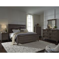 Magnussen Home Furnishings Talbot Driftwood Finish Wood Veneer California King Panel Bed (Cal King - Driftwood), Beige