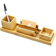 Organizador de Papelería para Escritorio Bambú 4 piezas (…