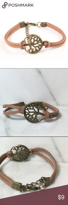 """Leather & bronze tree of life bracelet New and unworn! Measures 7"""" long plus a 2"""" extension! Jewelry Bracelets"""