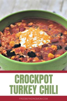 Do you need a delicious and hearty Turkey Chili Crock Pot recipe that will fill your belly but keep your waistline in check? This healthy and easy turkey chili recipe requires only 30 minutes of prep time, so it's great for hectic weekdays. Simply dice an onion and two bell peppers, brown a lb. of ground turkey, then throw all the remaining ingredients into a slow cooker. Your comfort food dinner will be ready in no time. #turkeychilicrockpot #turkeyrecipes #chilirecipecrockpot… Chili Recipes, Turkey Recipes, Crockpot Recipes, Slow Cooker Recipes, Easy Turkey Chili, Ground Turkey, Healthy Side Dishes, Easy Dinner Recipes, Food Dishes