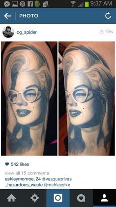Beautifully done Marilyn tattoo!