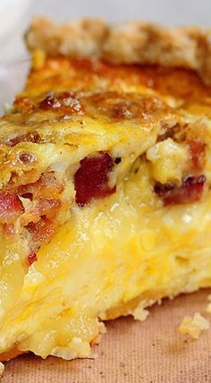 Brie & Swiss Cheese & Bacon Quiche _ Golden perfection! Brie & bacon. Bacon & brie. Why hadn't I thought of the duo before? They certainly make for a good marriage. But you just need to see for yourself. Wanna see how?