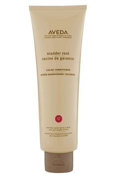 Free shipping and returns on Aveda 'Madder Root' Color Conditioner at Nordstrom.com. Enriches warm tones in dark and red shades of hair. Madder root helps purify scalp and hair; natural colors help add and intensify red hues. Deep-conditions, leaving hair lightweight and manageable.<br><br>How to use: Apply to hair that has been shampooed with Madder Root Shampoo. Comb through. Leave on two to five minutes. Use every two to three shampoos for consistent, lasting color enhancement.