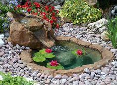 A little oasis in the garden! Fish Pond Gardens, Small Water Gardens, Little Gardens, Landscaping With Fountains, Diy Garden Fountains, Front Yard Landscaping, Backyard Water Feature, Ponds Backyard, Garden Pond Design
