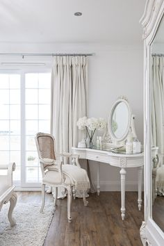 I love this white French look for a bedroom. So chic and calming.