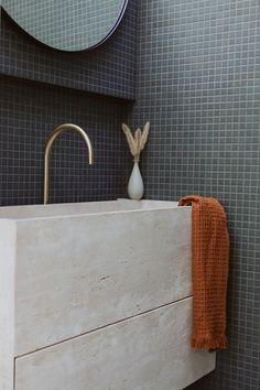 Bathroom Design Inspiration, Bathroom Interior Design, Terrazzo Flooring, Bathroom Flooring, White Brick Tiles, Green Mosaic Tiles, Architecture Design, Guest Toilet, Vanity Design