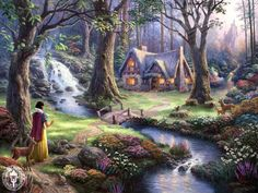 Thomas Kinkade Snow White discovers the cottage art painting for sale; Shop your favorite Thomas Kinkade Snow White discovers the cottage painting on canvas or frame at discount price. Disney Kunst, Art Disney, Film Disney, Disney Movies, Disney Tangled, Magical Paintings, Beautiful Paintings, Oil Paintings, Beautiful Images