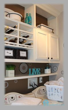 Laundry room storage - shelves above the washer and dryer are perfect!
