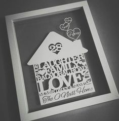 These stunning personalised home sweet home papercuts make a wonderful unique gift. Our papercuts are personalised art that you and your loved ones can treasure forever. Each papercut is carefully cut with lots of attention to detail (and lots of love!)